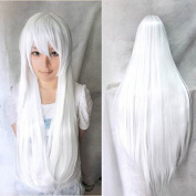 "Kissparts Womens Fashion 32"" 80cm Long White Hair Synthetic Wig Cosplay Costume Hair"