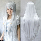 "Kissparts Womens Fashion 32"" 80cm Long Silver White Hair Synthetic Wig Cosplay Costume Hair"
