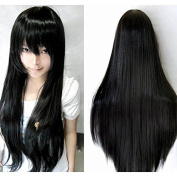 "Kissparts Women's Fashion 32"" 80cm Long Black Hair Synthetic Wig Cosplay Costume Hair"