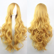 "Kissparts Women's Fashion 32"" 80cm Synthetic Long Yellow Colour Curly Cosplay Party Costume Wig"