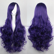 "Kissparts Women's 32"" 80cm Charming Synthetic Long Purple Colour Curly Full Cosplay Party Costume Wig"