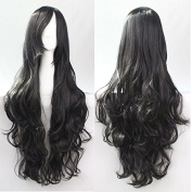 "Kissparts Women's 32"" 80cm Charming Synthetic Long Black Colour Curly Full Cosplay Party Costume Wig"
