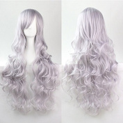 "Kissparts 32"" 80cm Charming Long Grey Colour Curly Full Cosplay Costume Wigs"