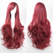 "Kissparts 32"" 80cm Charming Long Wine Red Colour Curly Full Cosplay Costume Wigs"