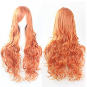"Kissparts 32"" 80cm Charming Long Orange Colour Curly Fashion Cosplay Costume Wigs"