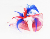 Red White & Blue 4th of July Plumed Veil Mini Hat - Independence Day, Memorial Day, Hand-made, Fascinator Hair Clip