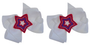 USA Patriotic Ponytail Hair Bow Set with Embroidered Star ~ Funny Girl Designs