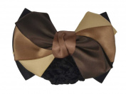 11cm Women Bun Cover Net Snood Bowknot Decor Barrette Hair Clip