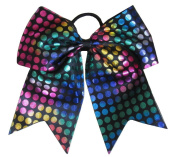 "New ""RAINBOW FOIL DOTS Black"" Cheer Bow Pony Tail 7.6cm Ribbon Girls Hair Bows Cheerleading Dance Practise Football Games Competition Birthday"