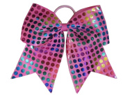 """New """"RAINBOW FOIL DOTS Pink"""" Cheer Bow Pony Tail 7.6cm Ribbon Girls Hair Bows Cheerleading Dance Practise Football Games Competition Birthday"""