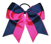 "NEW ""Two-Tone NAVY & PINK"" Cheer Bow Pony Tail 7.6cm Ribbon Girls Cheerleading Dance Practise Football Games Uniform Elastic"