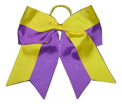 "New ""Two-Tone YELLOW & PURPLE"" Cheer Bow Pony Tail 7.6cm Ribbon Girls Cheerleading Dance Practise Football Games Uniform Elastic LSU"