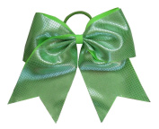 "New ""Sparkle Dots Neon Green"" Cheer Bow Pony Tail 7.6cm Ribbon Girls Hair Bows Cheerleading Dance Practise Football Games Competition Birthday"