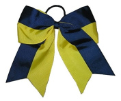 "NEW ""Two-Tone NAVY & YELLOW"" Cheer Bow Pony Tail 7.6cm Ribbon Girls Cheerleading Dance Practise Football Games Uniform Elastic"