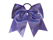 """New """"Sparkle Dots Purple"""" Cheer Bow Pony Tail 7.6cm Ribbon Girls Hair Bows Cheerleading Dance Practise Football Games Competition Birthday"""