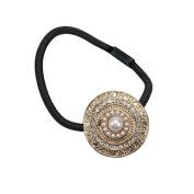 Harry D Koenig Hair Ornaments Hair Tie with Round Pearl Brooch