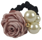 Fashion Clothes Flower Decor Elastic Hair Rubber Band Ponytail Holder