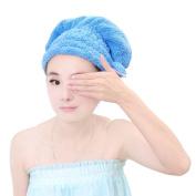 Starsource Soft Coral Velvet Bowknot Super Absorbent Hat Shower Cap Elastic Band Bath Hair Towel Blue