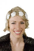 KryptiK Women's White Flower Rainbow Hemp Headband