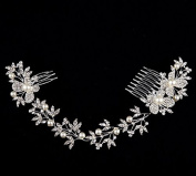 Crystal Diamond Bride Bridal Wedding Hair Head Band Wear Pearl Rhinestone Jewellery Headdress Headband Tiara Coronal Eyebrow Fall Forehead Chain