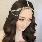 Type1 Crystal Diamond Bride Bridal Wedding Hair Head Band Wear Pearl Rhinestone Jewellery Headdress Headband Tiara Coronal Eyebrow Fall Forehead Chain