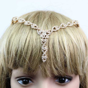 Seasofbeauty Crystal Rhinestone Bridal Headwear Headdress Hair Jewellery Pendant Gold