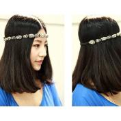 MERSUII™Bohemian Style Handmade Rhinestone Crystal Bohemia Stylish Crystal Beaded Elastic Fashion Headband Hair Band Accessory
