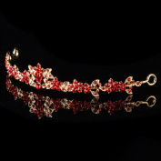 New Fashion Chic Women Wedding Partry Bridal Red Colour Crystal Flower Decor Crown Headband Tiara