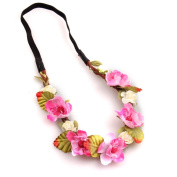 YMX Wedding Summer Beach Pink Flower Headband Headwear Hair Decoration