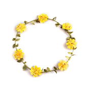 YMX Bride Bridesmaid Wedding Yellow Flower Headband Headwear Hair Decoration