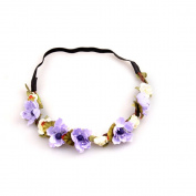 YMX Wedding Summer Beach Purple Flower Headband Headwear Hair Decoration
