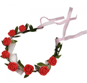 Beautiful Flowers Wreath Headband Floral Crown Garland Halo with Floral Wrist Band for Wedding Festivals
