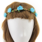 YMX Summer Brides Party Wedding Beach Sky Blue Flower Headband Headwear