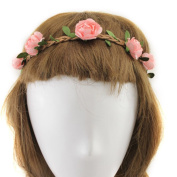 YMX Summer Brides Party Wedding Beach Peach Flower Headband Headwear