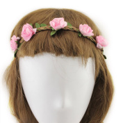 YMX Summer Brides Party Wedding Beach Pink Flower Headband Headwear