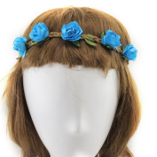 YMX Summer Brides Party Wedding Beach Blue Flower Headband Headwear