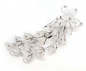 Simple Bridal Prom Elegant Austrian Crystal Mesh Flowers & Leaves Double Hair Comb
