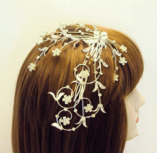 Exquisite Bridal Prom Elegant Austrian Crystal Headpiece Crystal Flowers and leaves