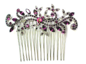 Faship Floral Hair Comb Amethyst colour purple Crystal Wedding Party Prom