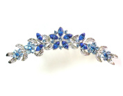 Hair Comb Sapphire Colour Blue Floral Bridesmaid Wedding Party Prom Pageant