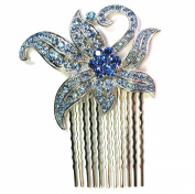 Blue Hair Comb Sapphire Colour Floral Bridesmaid Wedding Party Prom Pageant