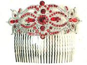 Faship Red Big Hair Comb Floral Crystal Bridal Bridesmaid Wedding Party
