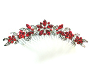 Hair Comb Red Floral Bridal Bridesmaid Wedding Party Prom Pageant
