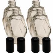 4 Pack of Perfume Bottles - 60ml Empty Vintage Crystal Antiques Glass Lot - Decorative Refillable Bottle Diamond Cut Shape with Black Cap Top - Clear