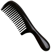 Handmade Premium Quality Natural Ebony Wood (Black Sandalwood) Massage Comb, Wide Tooth Wooden Comb with Handle 20cm