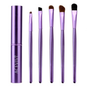 ACEVIVI 5 pcs Romantic Purple High Quality Eye Makeup Brush Face Brush with Shinning Purple Cylinder Case