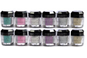 Glomour Glitter For Makeup Eye Shadow,Face Nails 6 Colour 1 Dozen