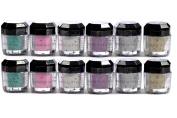 Glomour Glitter For Makeup Eye Shadow,Face Nails 6 Colour 1 Dozen