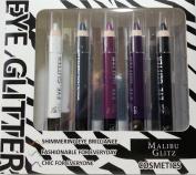 Malibu Glitz Cosmetics Shimmering Eye Glitter Eyeshadow Set, 5pc