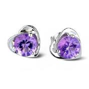 Sealike Super Cute Amethyst Purple Crystal Diamond Design Heart Shape Stud Earrings Jewellery Women Lady Girls with a Stylus
